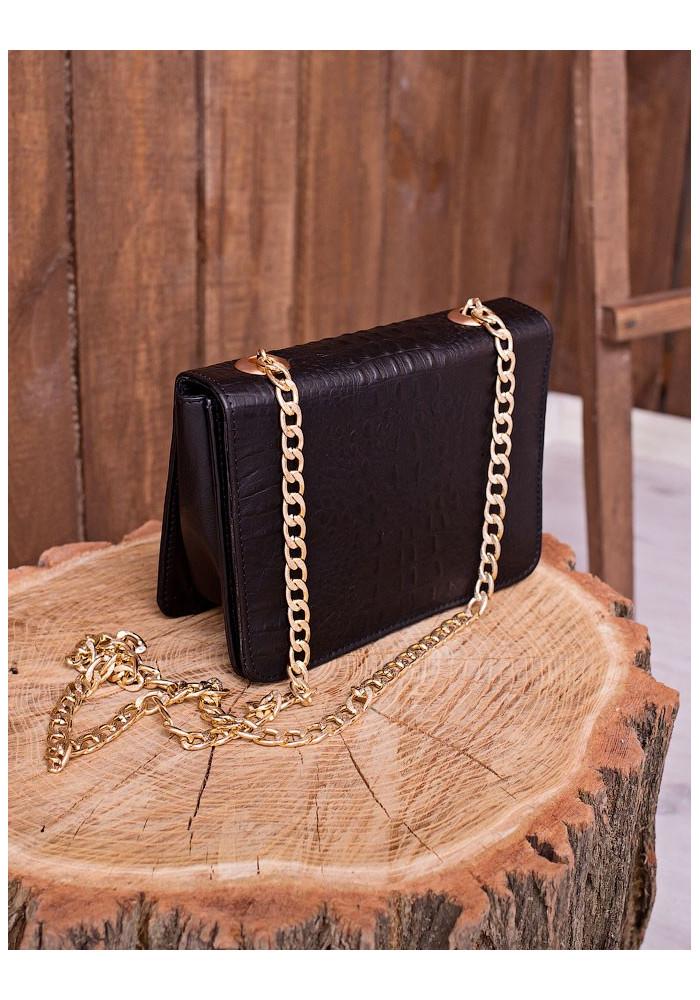 Черная кожаная женская сумка Lev Lubinin 91353 с тиснением