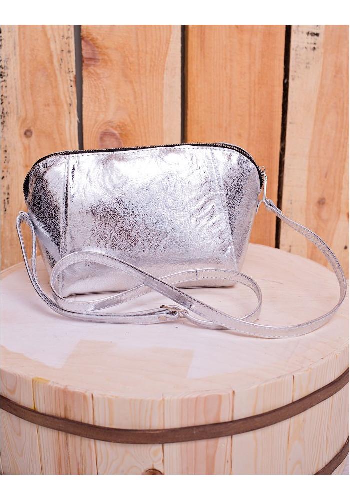 Серебристый кожаный женский клатч Lev Lubinin 91419