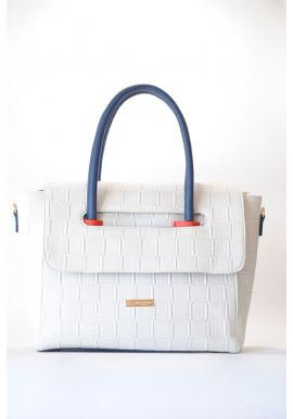 Фото Белая женская сумка с клапаном 66-BKS