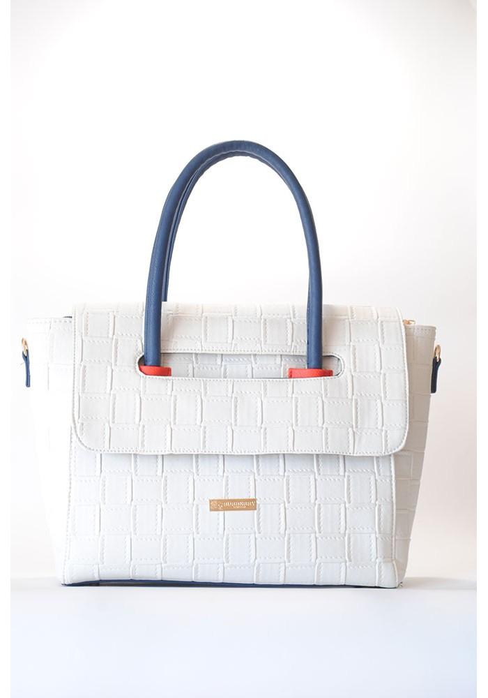 Белая женская сумка с клапаном 66-BKS