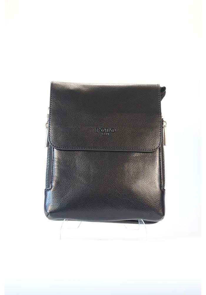 Черная мужская сумка через плечо POLO с разширяющимся карманом