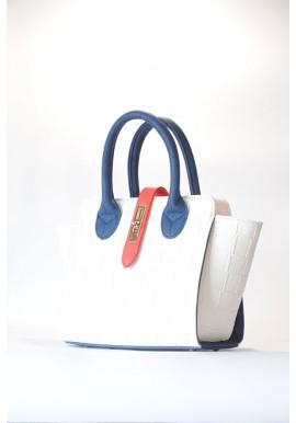 Фото Белая маленькая женская сумка с синими ручками 500-BSK