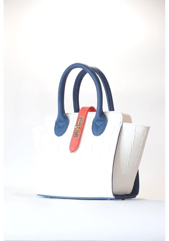 Белая маленькая женская сумка с синими ручками 500-BSK
