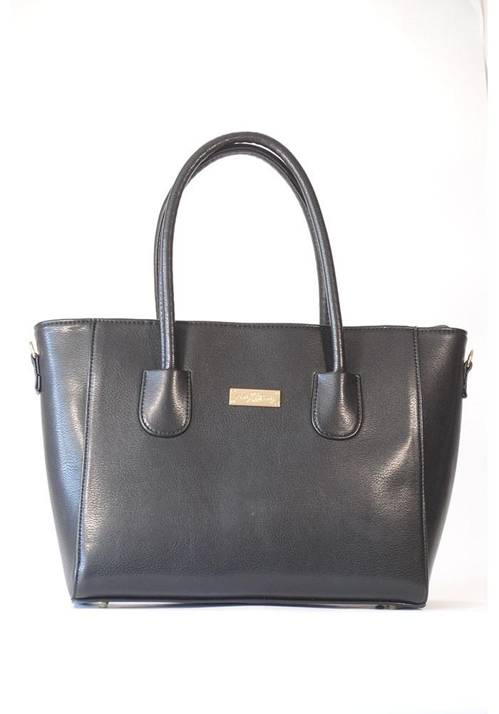 Модная черная глянцевая женская сумка 66BK-1252