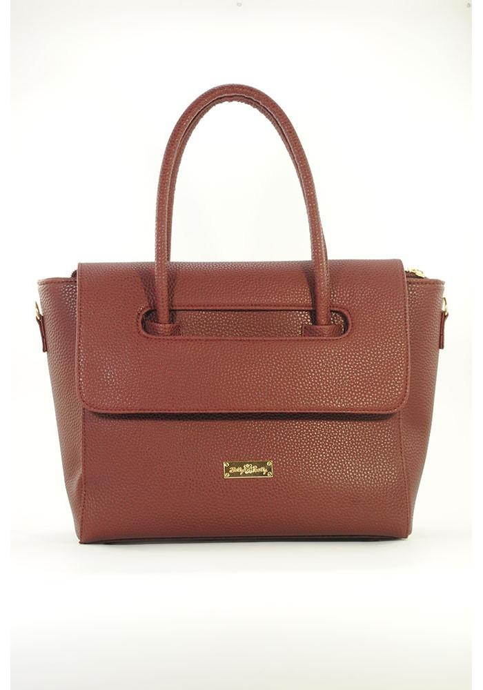 Бордовая модная женская сумка с клапаном 66-BORDO