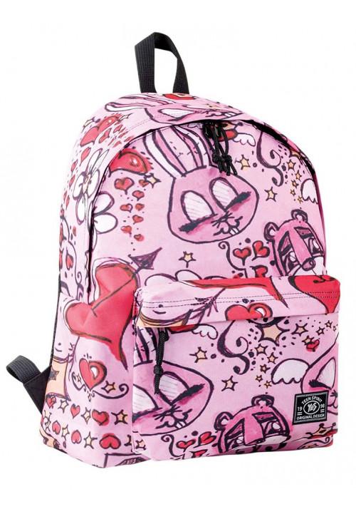 Рюкзак молодежный розовый с веселым принтом