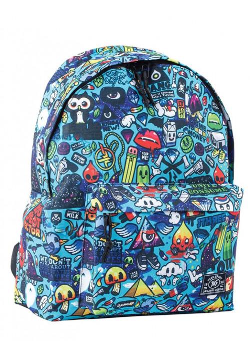 Рюкзак молодежный голубого цвета с принтом