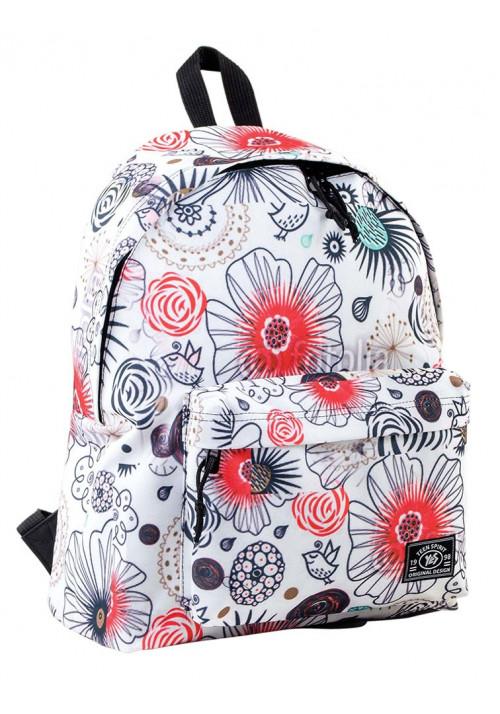Рюкзак молодежный белый с цветами