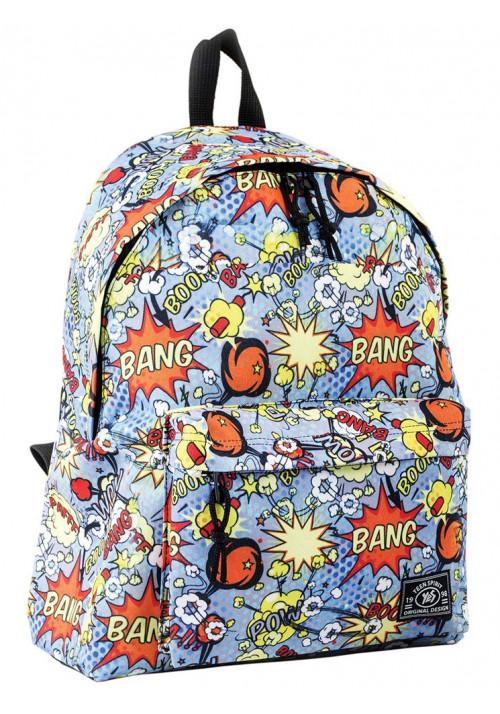 Городской рюкзак голубого цвета с рисунком