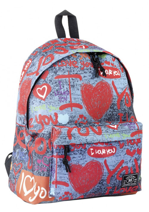 Рюкзак женский городской с красным принтом