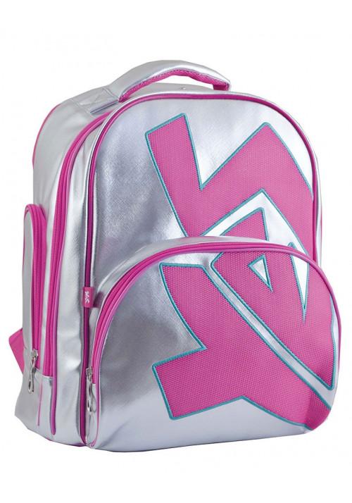 Серебристый школьный рюкзак для девочки с розовым принтом