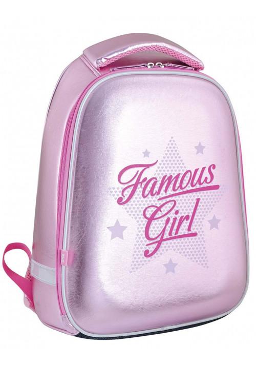 Розовый каркасный рюкзак для девочки H-24 Famous girl - Фото спереди