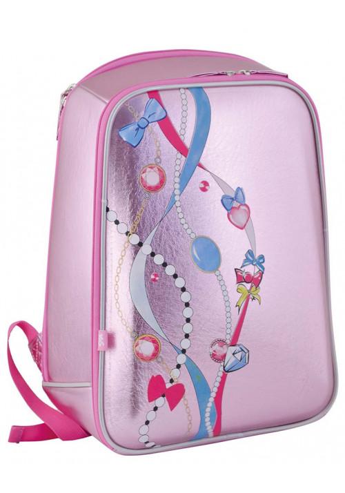 Розовый школьный каркасный ранец YES H-23 Beads