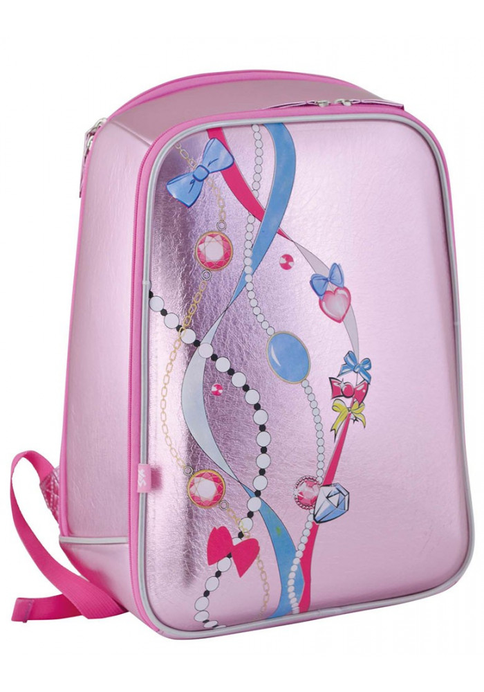 Розовый ранец школьный каркасный YES H-23 Beads - Фото 1