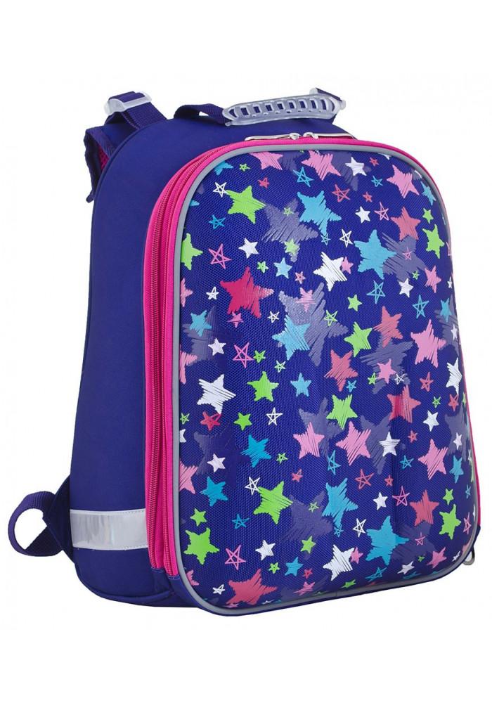 Синий школьный каркасный рюкзак дсо звездами YES H-12 Stars - Фото