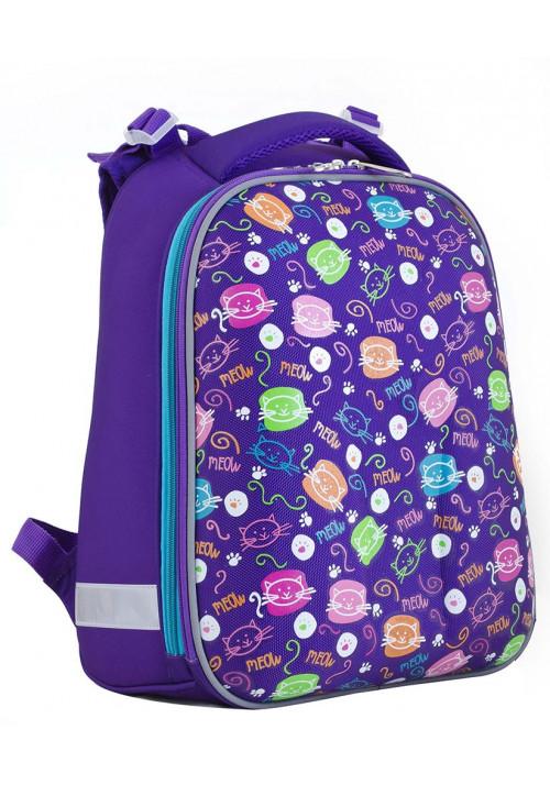 Фиолетовый школьный каркасный рюкзак с котиками YES H-12 Mini cats