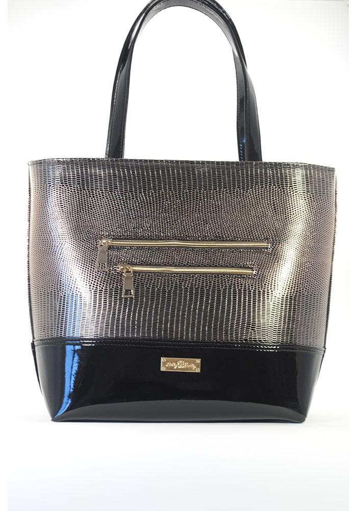 Мягкая лаковая женская сумка под золото - Фото спереди