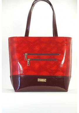 Фото Мягкая красная лаковая женская сумка 611-RED