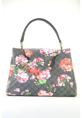 Фото Черная женская сумка мягкой формы с цветами 08-FB