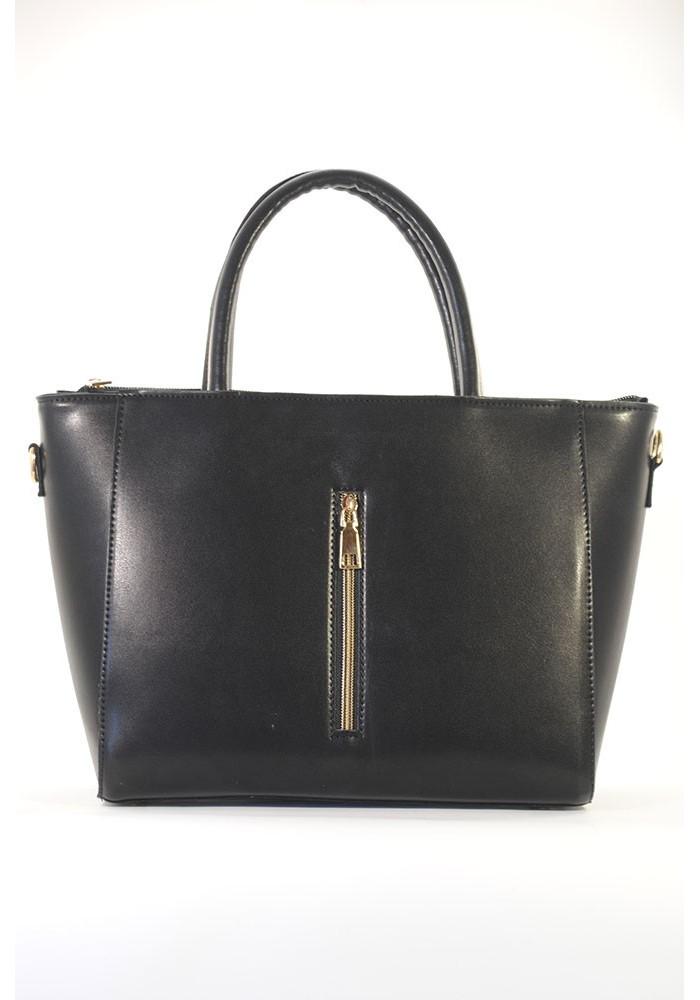 Черная глянцевая женская сумка с молнией 66BK-M-1252