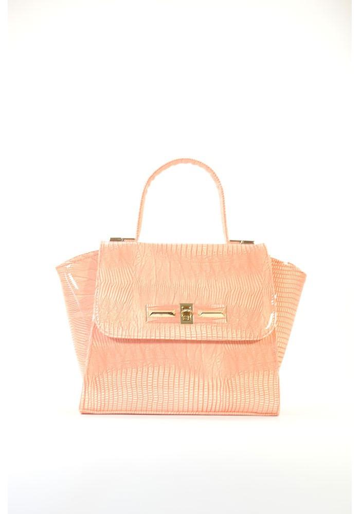 Фото Маленькая лаковая женская сумка цвета пудры 52-LAK