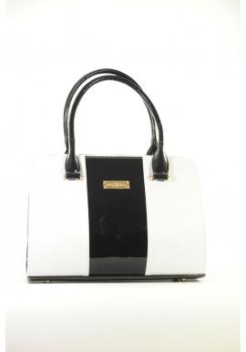 Фото Маленькая бело-черная лаковая женская сумка 16TL-BC