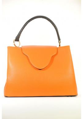 Фото Оранжевая женская сумка с коричневой ручкой 08-ORANGE