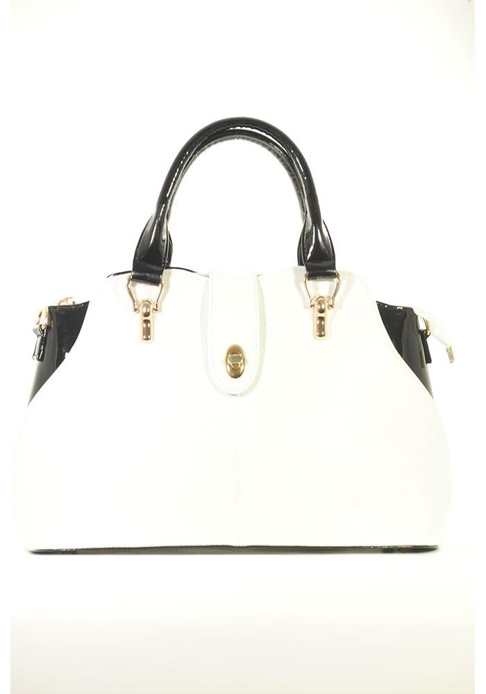 Фото Белая лаковая женская сумка с черными вставками 70-BC