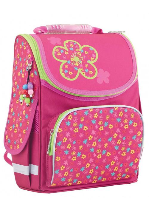 """Ранец розовый школьный каркасный """"Smart"""" PG-11 Green flowers"""