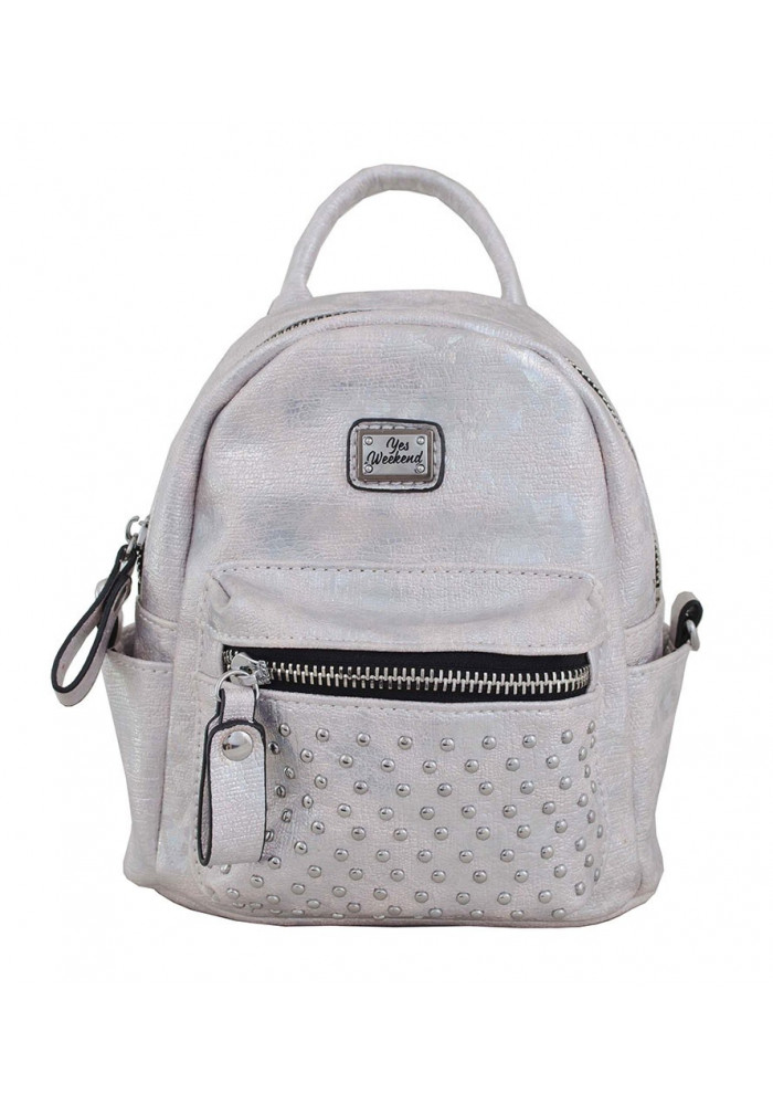 Маленький серебристый молодежный рюкзак YES WEEKEND