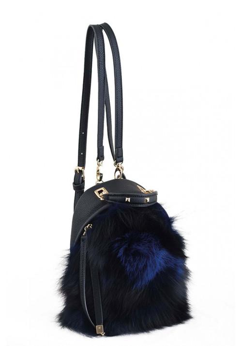 Черный маленький молодежный рюкзак с мехом YES WEEKEND