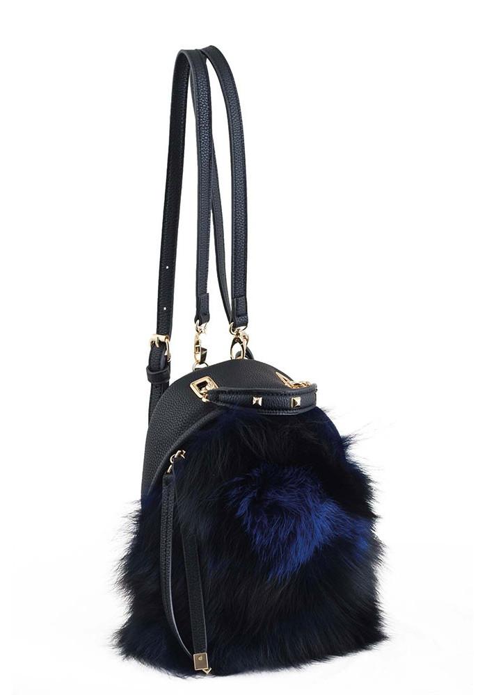 Черный женский рюкзак-сумочка с мехом YES WEEKEND