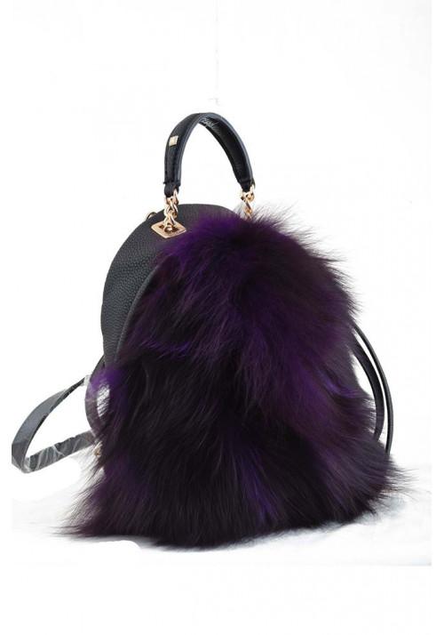 Фиолетовый маленький молодежный рюкзак с мехом YES WEEKEND