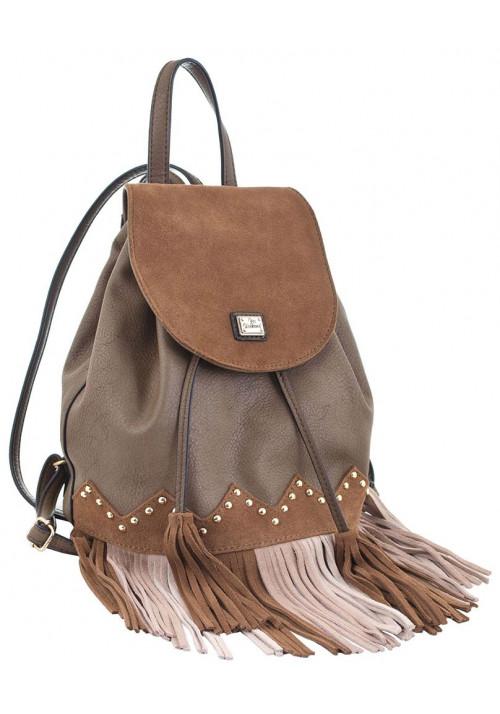 Коричневый молодежный рюкзак с бахромой YES WEEKEND