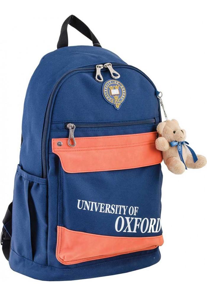 Синий городской рюкзак с оранжевыми вставками серии Oxford YES OX 288