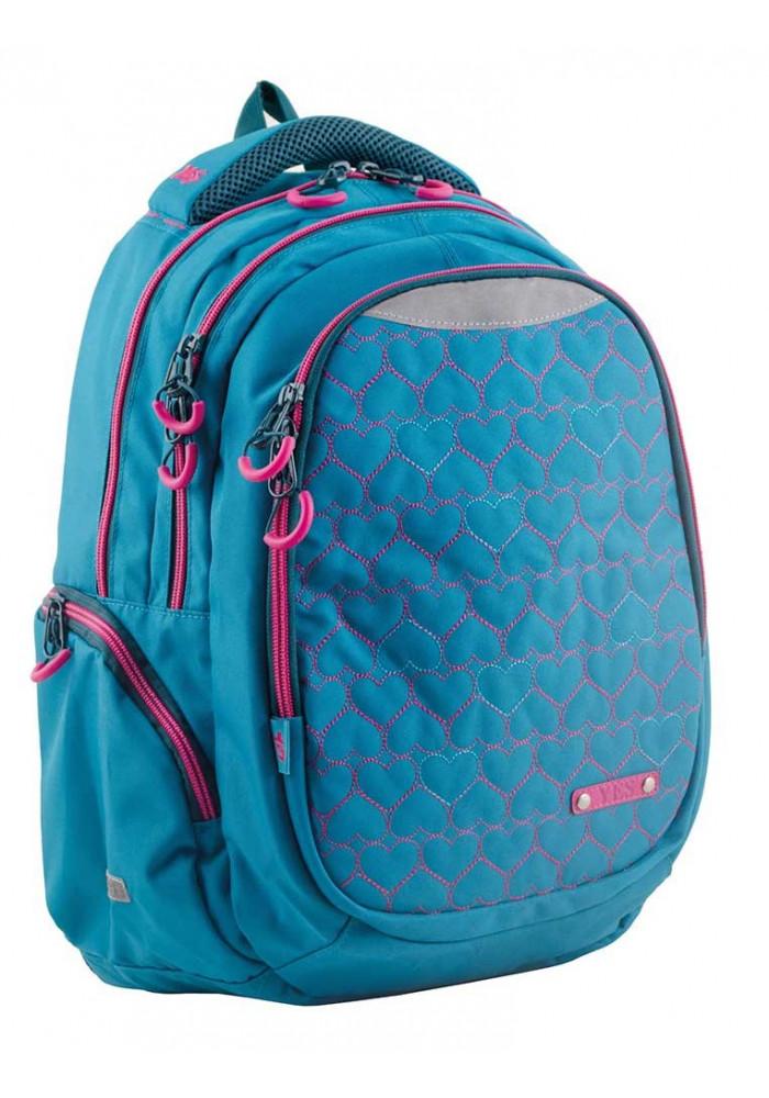 Голубой подростковый рюкзак для девочки Т-22 Mint hearts