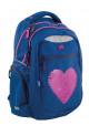 Синий подростковый рюкзак для девочки с сердцем Т-23 Shining heart - интернет магазин stunner.com.ua