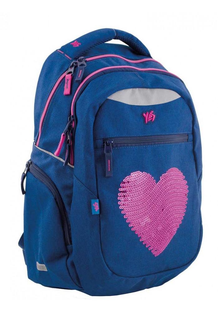Фото Синий подростковый рюкзак для девочки с сердцем Т-23 Shining heart