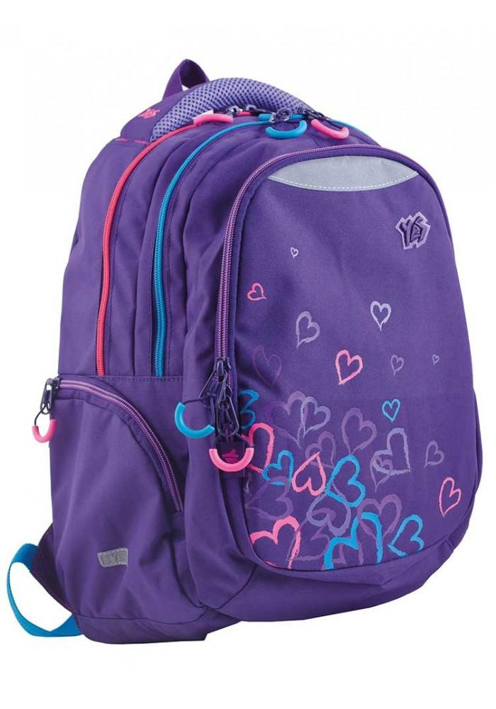 Стильный фиолетовый подростковый рюкзак Т-24 Hearts