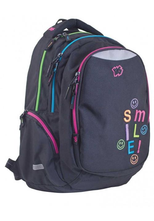 Черный подростковый рюкзак с яркими вставками Т-24 Smile