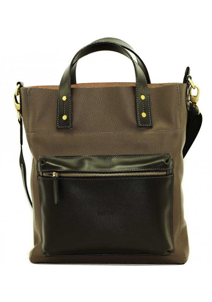 Серая мужская кожаная сумка Vatto Mk6
