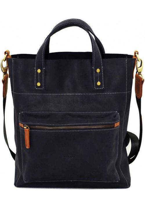 Синяя мужская кожаная сумка с рыжими вставками Vatto Mk6