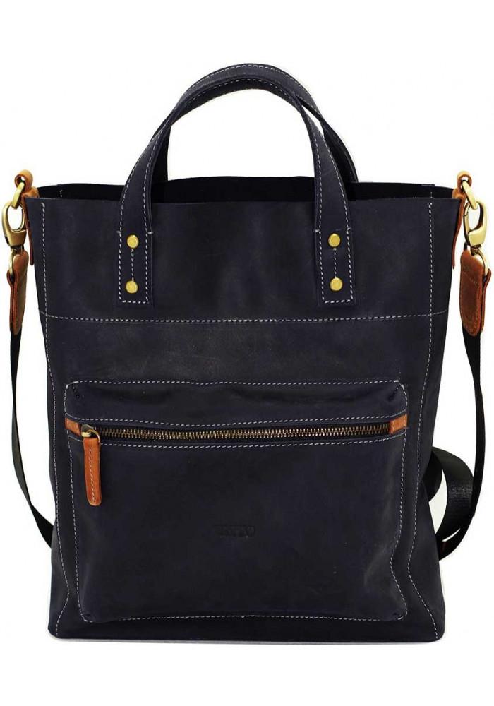 Фото Синяя мужская кожаная сумка с рыжими вставками Vatto Mk6