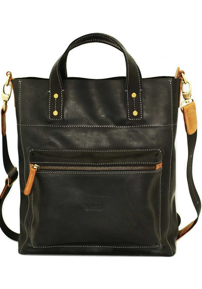 Черная матовая кожаная мужская сумка с рыжими вставками Vatto Mk6
