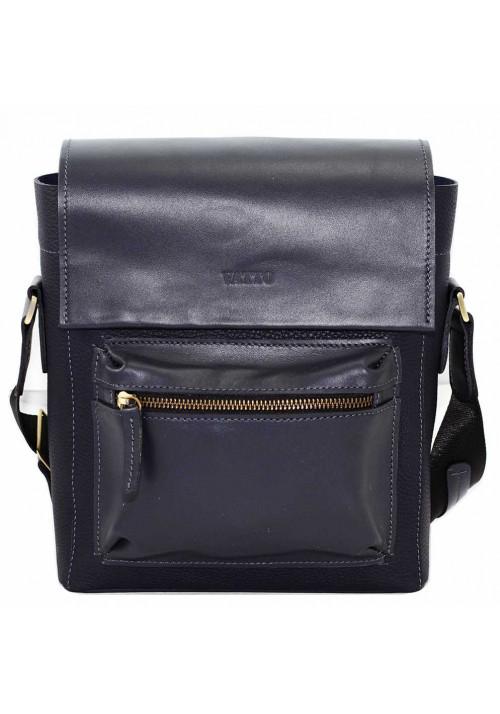 Синяя глянцевая кожаная мужская сумка через плечо Vatto
