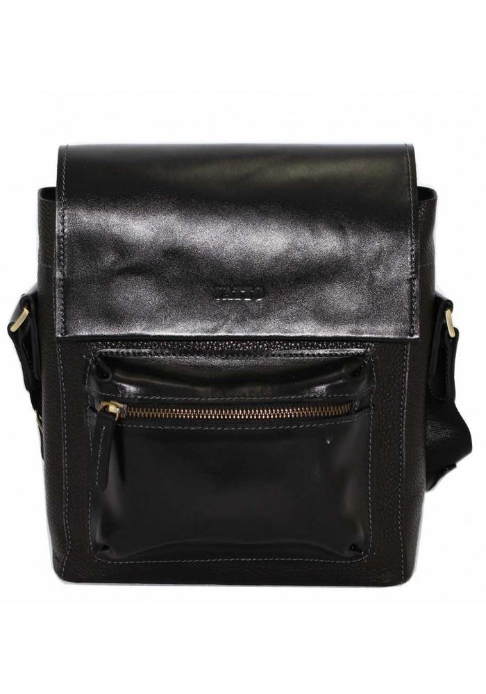 Черная глянцевая кожаная мужская сумка через плечо Vatto