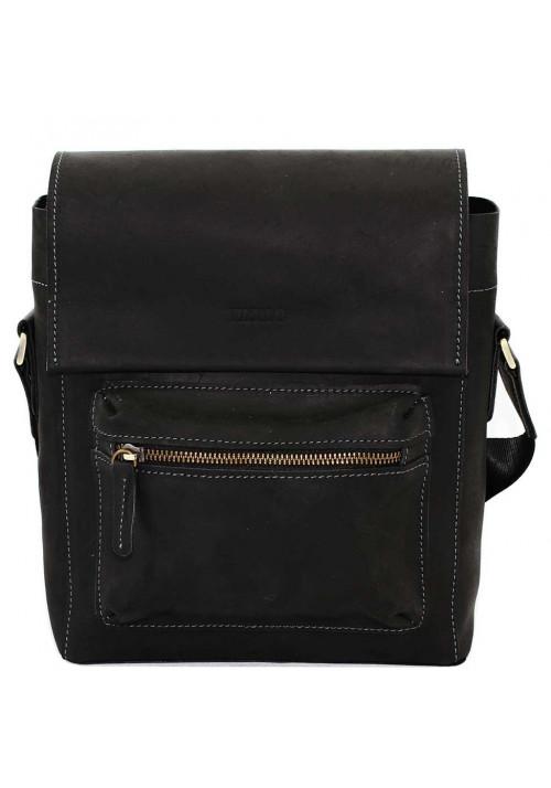 Черная матовая кожаная мужская сумка через плечо Vatto
