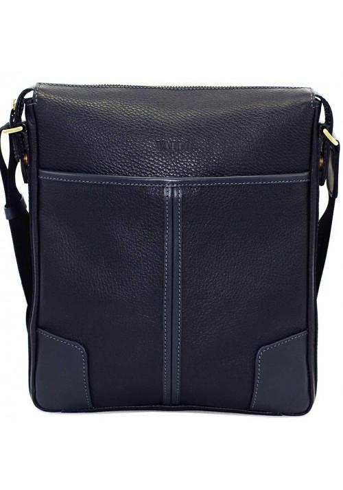 Синяя кожаная мужская сумка через плечо Vatto MK10
