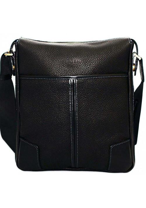 Черная кожаная мужская сумка через плечо Vatto MK10
