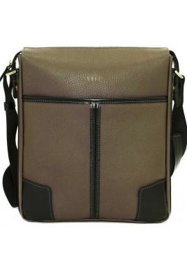 Фото Серая кожаная мужская сумка через плечо с черными вставками Vatto MK10
